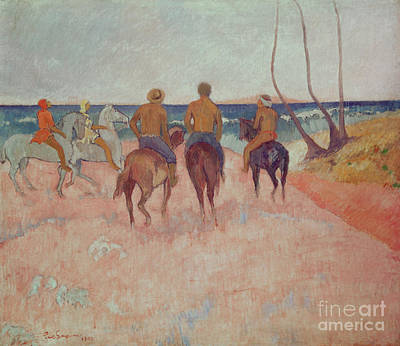 Horseman On The Beach Print by Paul Gauguin
