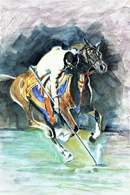 Painting - Horseman On The Target. by Khalid Saeed