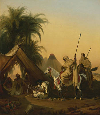 Horseman Painting - Horsemen And Arab Chiefs Listening To A Musician by Celestial Images