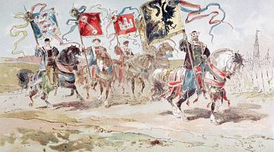 European City Drawing - Horsemen Carrying Banners Of The by Vintage Design Pics