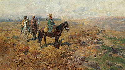 Painting - Horsemen In The Hills by Treasury Classics Art