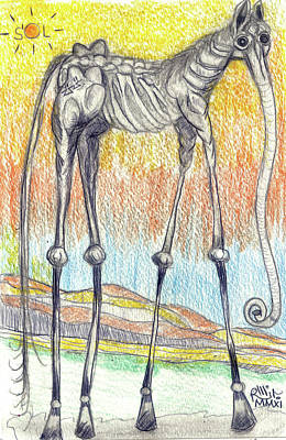 Contemporary Surrealism Drawing - Horsephant by Robert Wolverton Jr