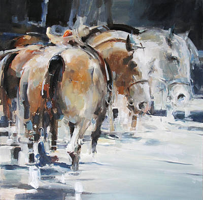 Wall Art - Painting - Horses 2 by Tony Belobrajdic