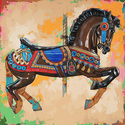 Amusement Park Painting - Horses #3 by David Palmer