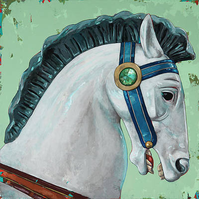 Amusement Park Painting - Horses #4 by David Palmer