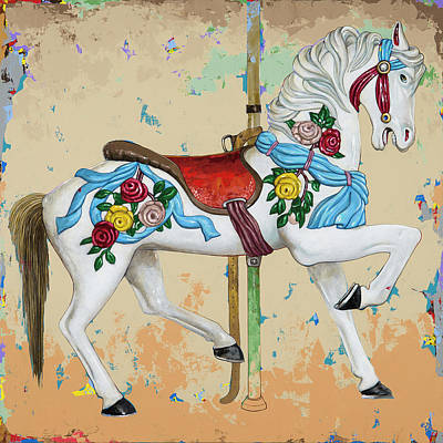 Carousel Painting - Horses #7 by David Palmer