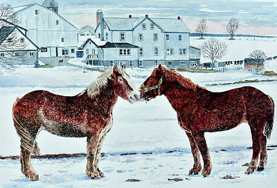 Painting - Horses, Amish Farm, Lancaster, Pa by Anthony Butera