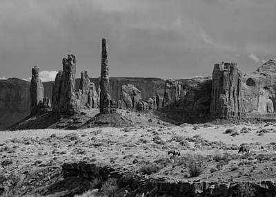 Horses And Monument Valley Print by Troy Montemayor