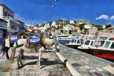 Painting - Horses And Mules In Hydra Island by George Atsametakis