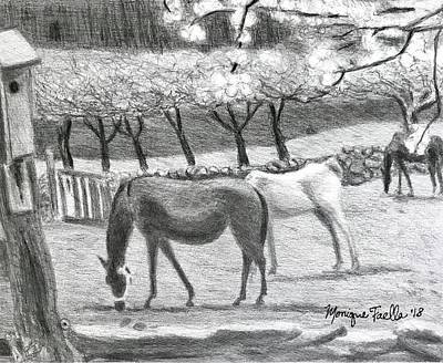 Drawing - Horses And Trees In Bloom by Monique Faella