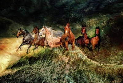 Painting - Horses And Wave by Lilia D