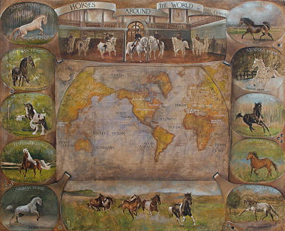 Painting - Horses Around Thr World by Vali Irina Ciobanu