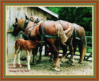 Stone Pony Painting - Horses At The Barn H A With Decorative Ornate Printed Frame. by Gert J Rheeders
