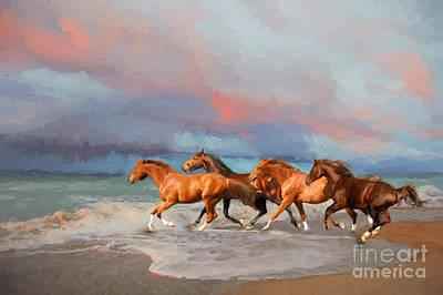 Horses At The Beach Art Print by Mim White