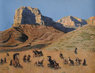 El Capitan Painting - Horses At The Guadalupe Mountains by Paul Larson