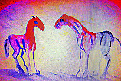Emphasize Painting - When The Horses Are Having An Argument by Hilde Widerberg