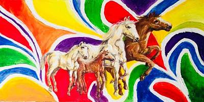 Painting - Horses Colourful Life  by Pretchill Smith