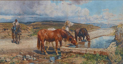 Horses Drinking From A Stone Trough, By Enrico Coleman Art Print by MotionAge Designs
