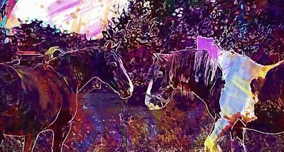 Digital Art - Horses Equine Equestrian Animal  by PixBreak Art