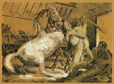 Drawing - Horses Fighting In A Stable by Theodore Gericault