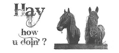 Drawing - Horses Friesians by Marianne NANA Betts