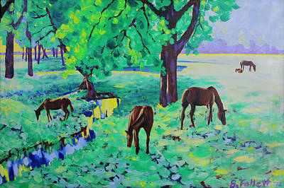 Painting - Horses Grazing by Bonnie Follett