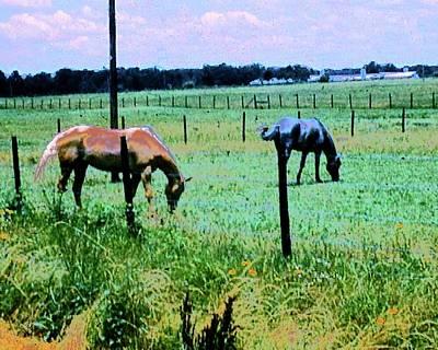 Digital Art - Horses Grazing by Cliff Wilson