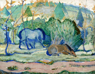Horses Grazing Print by Franz Marc