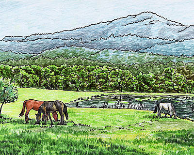 Animals Royalty-Free and Rights-Managed Images - Horses Grazing Valley And Mountains Landscape by Irina Sztukowski