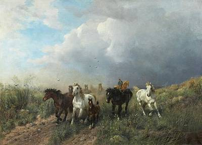 Poster Painting - Horses In A Meadow by MotionAge Designs