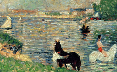 White River Scene Painting - Horses In A River by Georges Pierre Seurat
