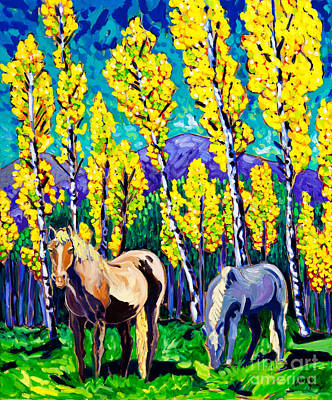 Whimsical Painting - Horses In Aspens by Cathy Carey