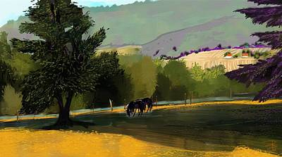 Horses In Field Art Print