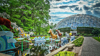 Geodesic Dome Digital Art - Horses In Front Of Dome by Bill Klingsick