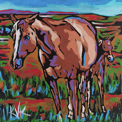 Painting - Horses in Montana by Katia Von Kral