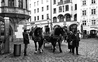 Horse And Wagon Photograph - Horses In Munich by John Rizzuto