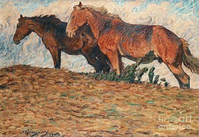 Horses In Stifling Winds Art Print