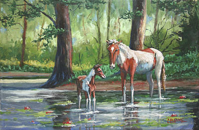 Painting - Horses In The Bayou by CB Hume