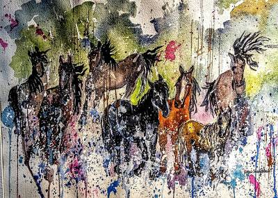 Painting - Horses In The Wild by Esther Woods