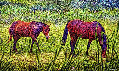 Horses In Tranquil Field Art Print