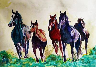 Painting - Horses In Wild by Khalid Saeed