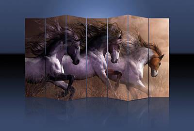 Mixed Media - Horses by Marvin Blaine