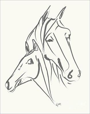 Painting - Horses Mother Love by Go Van Kampen