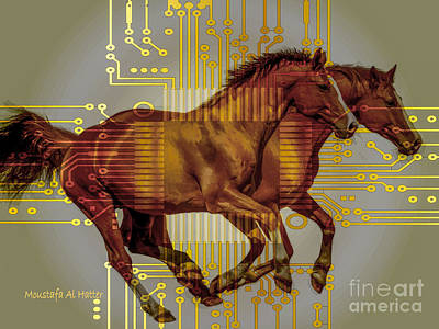 Digital Art - The Sound Of The Horses. by Moustafa Al Hatter