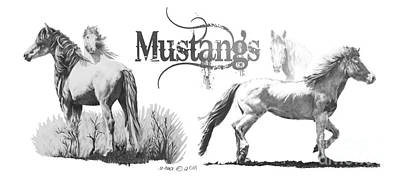 Drawing - Horses Mustangs by Marianne NANA Betts