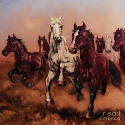 Painting - Horses Nb87 by Gull G