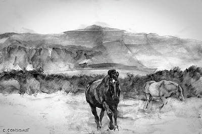 Monotone Drawing - Horses Near Sybil Head West Kerry Ireland On The Wild Atlantic Way by Catherine Considine