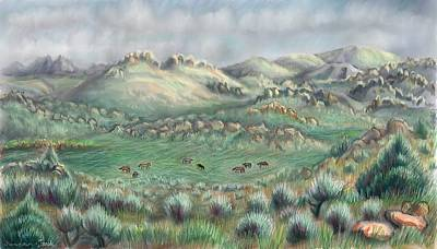 Painting - Horses On Summer Range Pastel by Dawn Senior-Trask