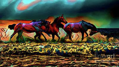 Photograph - Horses On The Beach 16418 by Ray Shrewsberry