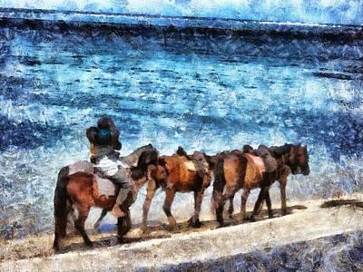 Digital Art - Horses On The Beach by Leigh Kemp